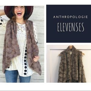Anthropologie Elevenses Taupe Faux Fur Vest Small